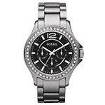 Fossil CE1067 Women's Riley Crystal Accented Bezel Black Dial Ceramic Bracelet Watch