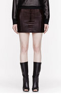 ALEXANDER WANG Burgundy Calf-hair and leather Pencil Skirt for women