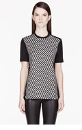 NEIL BARRETT Black Jersey Pixelated Zig Zag T-Shirt for women