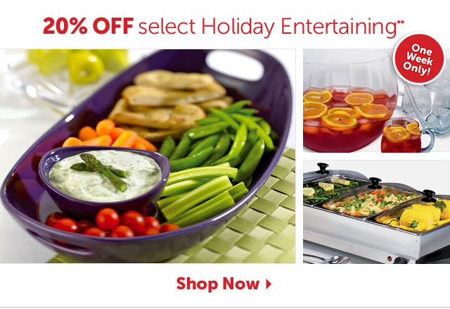 20% Off select Holiday Entertaining** - One Week Only - Shop Now