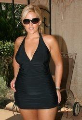 Always For Me Chic Solids  - Retro Halter  Plus Size Swimsuit #79373wa - BLACK $69
