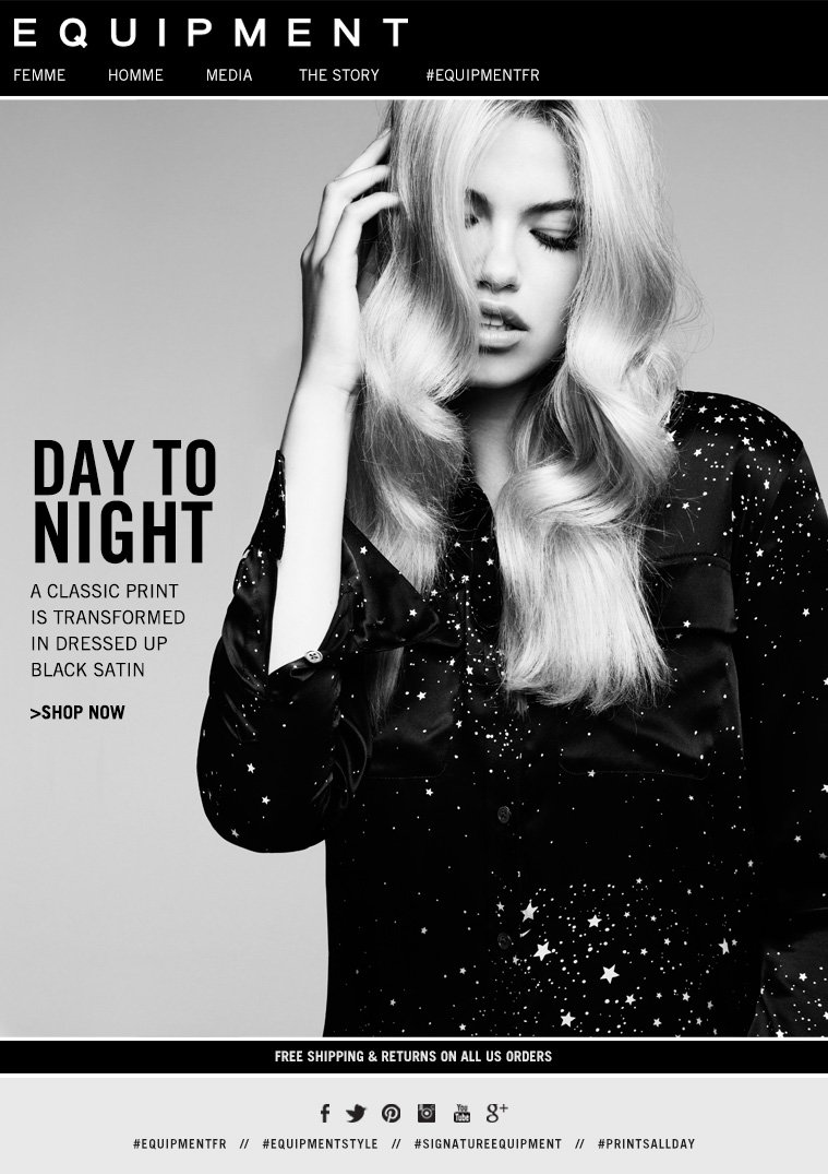 DAY TO NIGHT A CLASSIC PRINT IS TRANSFORMED IN DRESSED UP BLACK SATIN >SHOP NOW
