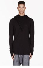 MA JULIUS Black draped-front UNISEX hoodie for men