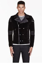 DIESEL Black Velveteen & Leather Noklang biker jacket for men