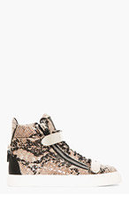GIUSEPPE ZANOTTI Grey Leather Python Atlantide High-Top Sneakers for men
