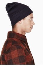 A.P.C. Navy blue knit Carhartt edition beanie for men