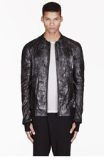 MA JULIUS Black Leather Sparkle Unisex jacket for men