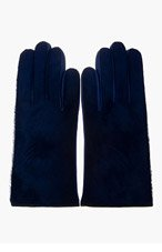 PAUL SMITH Cobalt Blue Calf-Hair & Leather Gloves for men