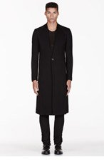 MA JULIUS Black twill unisex coat for men