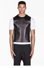 NEIL BARRETT Black LEATHER-paneled velcro-trimmed VEST for men