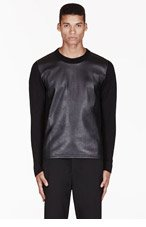 NEIL BARRETT Black knit & leather sweater for men