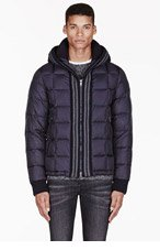 MONCLER Navy knit-trim LEON jacket for men