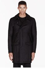 MA JULIUS Black twill padded unisex coat for men