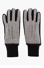 CARVEN Grey Gingham Check Knit Gloves for men
