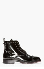 VALENTINO Black Leather RUBBER STUD BOOTs for men