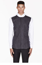 NEIL BARRETT White Wool-paneled button-up shirt for men