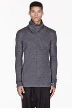 MA JULIUS Grey paneled UNISEX turtleneck sweater for men