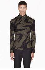 MCQ ALEXANDER MCQUEEN Olive SWALLOW GRAPHIC BUTTON DOWN for men