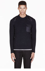 A.P.C. Navy constrasting-paneled CARHARTT edition Commando Sweater for men