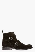 BALMAIN Black SUEDE belted BOOTs for men