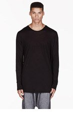 MA JULIUS Black boatneck draping UNISEX shirt for men