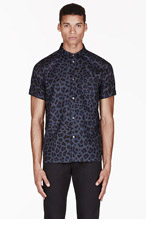 MARC BY MARC JACOBS Blue LONDON LEOPARD print SHIRT for men