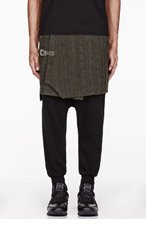WHITE MOUNTAINEERING Green WOOL CABLE KNIT JACQUARD wraparound skirt for men