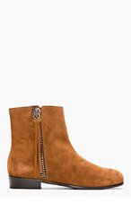 GIUSEPPE ZANOTTI Brown Suede Zip Boots for men