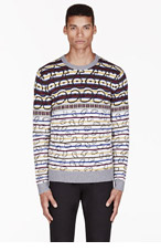 MARC BY MARC JACOBS Ivory & burgundy Merino patterned FINSBURY FAIRISLE SWEATER for men