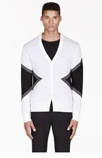 NEIL BARRETT Ivory & Black Merino colorblocked cardigan for men