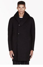 MA JULIUS Black hooded reversible unisex coat for men