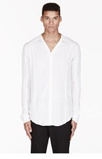MA JULIUS Ivory gathered-front UNISEX button-up shirt for men
