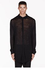 MA JULIUS Black ribbed knit oversize UNISEX button-up for men