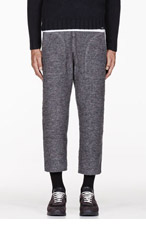 FACETASM Grey Boucl� cropped lounge pants for men