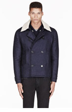 A.P.C. Naving herringbone & shearling CABAN jacket for men