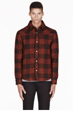 A.P.C. Rust wool plaid PARKER jacket for men