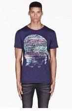 KSUBI Navy GLITCHHEAD print t-shirt for men