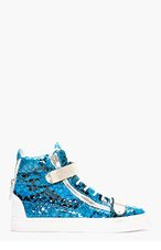 GIUSEPPE ZANOTTI Blue Leather Python Atlantide High-Top Sneakers for men