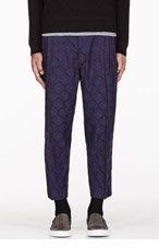 SASQUATCHFABRIX Navy jacquard  ORIENTAL TAPERED PANTS for men