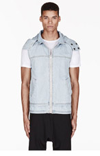 KSUBI Blue denim removable-hood VEST for men