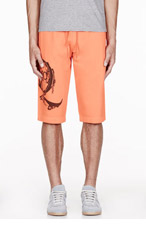 MCQ ALEXANDER MCQUEEN Orange logo-printed sweat shorts for men