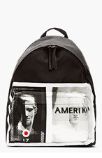 GIVENCHY Black leather-trimmed AMERIKA graphic BACKPACK for men