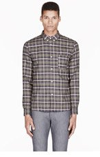A.P.C. Khaki & olive plaid button down for men