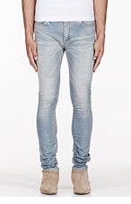 SAINT LAURENT Blue Whiskered & distressed jeans for men