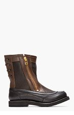 SASQUATCHFABRIX Black & Brown Leather Digable Planets Boots for men