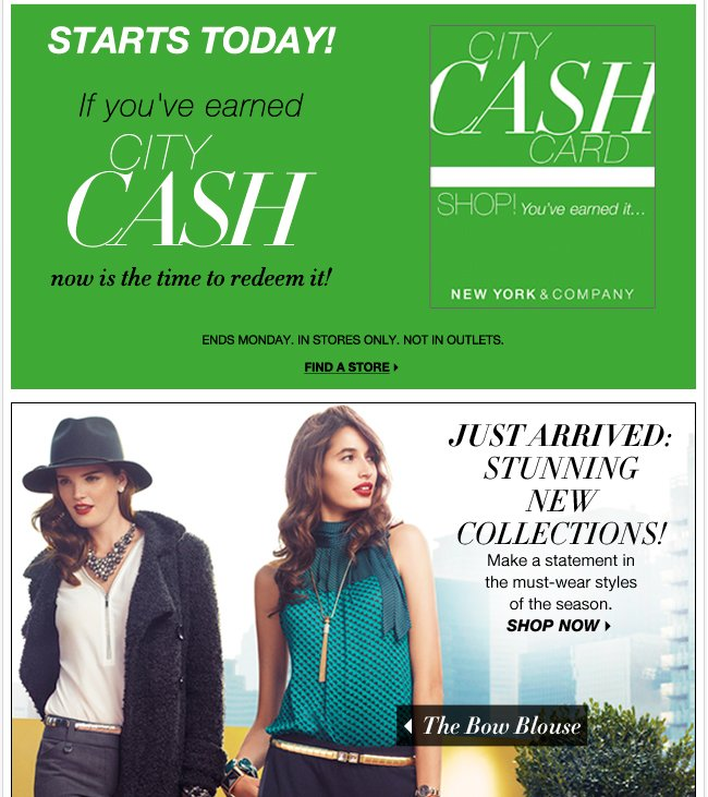 Redeem your City Cash in stores!