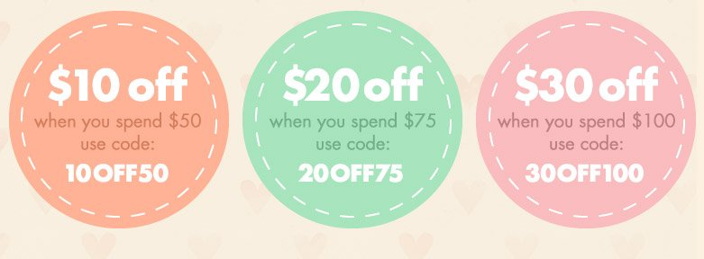 $10 Off, $20 Off, $30 Off