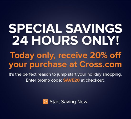 Today Only - 20% Off at Cross.com