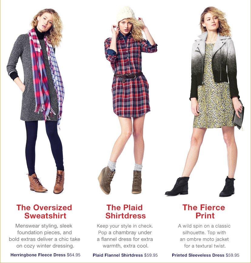 The Oversized Sweatshirt | The Plaid Shirtdress | The Fierce Print