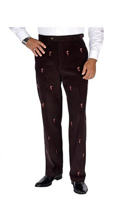 Candy Cane Embroidered Pants